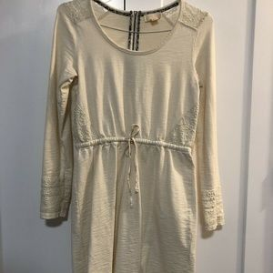 Cream Long Sleeve Dress with Lace Detail Size M